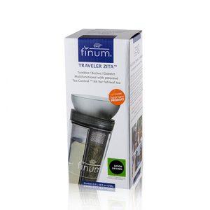 finum Traveler ZITA, Doppelwand Trinkbecher 0,3L mit Tea Control Kit, ANTHRAZIT transluzent